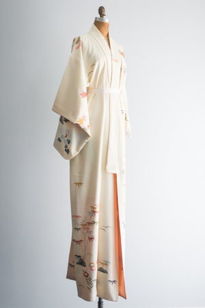 1940s Ivory Cherry Blossom Floral Silk Crepe Kimono - One Size