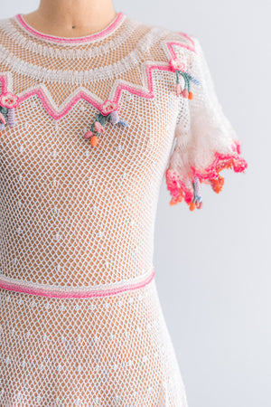 1970's Macrame Crochet Fiesta Dress - S/M