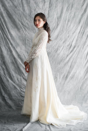 1960s/70s Silk Organza and Silk Lace Gown - S/M