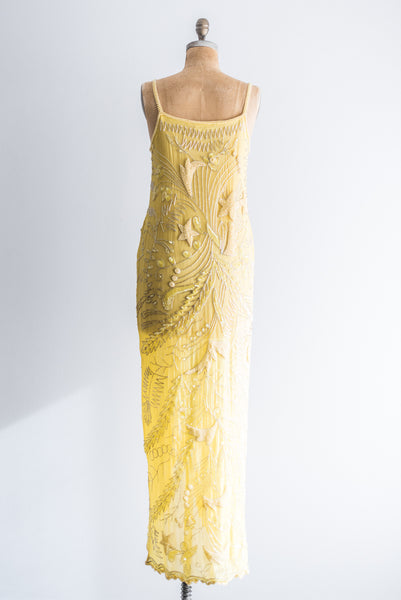 1980s Yellow Moon and Stars Silk Beaded Gown - M/L