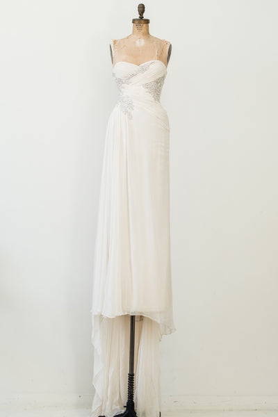 RENTAL Sweetheart Marchesa Silk Chiffon Gown - S