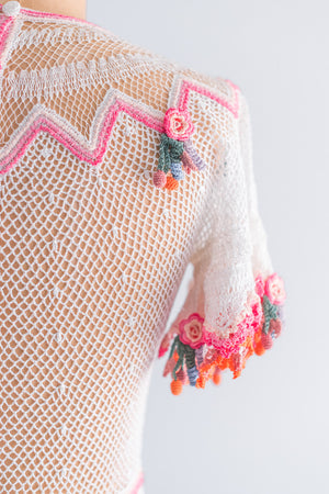 1970s Macrame Crochet Fiesta Dress - S/M