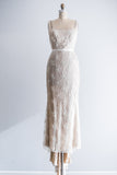 1980s Cream and Nude Net Beaded Gown - S/M