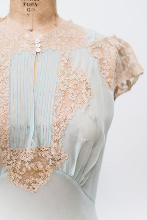 1930s Light Blue Sheer Chiffon Gown - S
