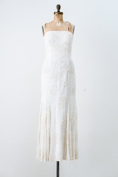 1980s Ivory Silk Chiffon Strapless Gown - S