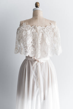 1950s Off the Shoulder Lace and Chiffon Gown - S/M
