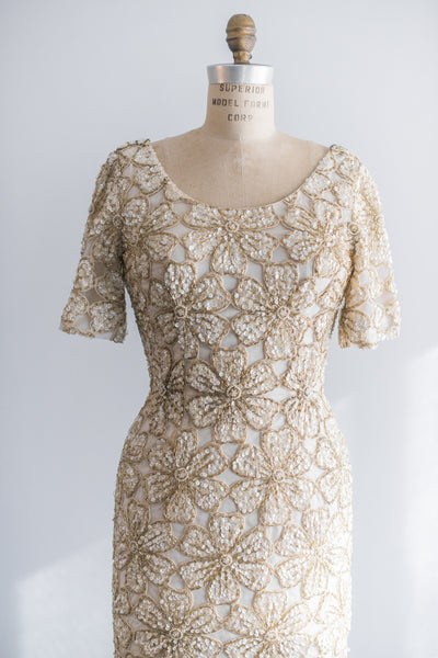 1960s Beaded Wool Dress - S/M