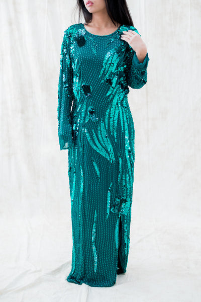 1980s Emerald Green Silk Beaded Dress - L