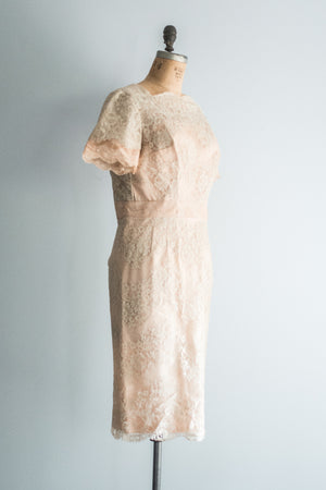 1950s Mauve Pink Silk Lace Dress - L/XL