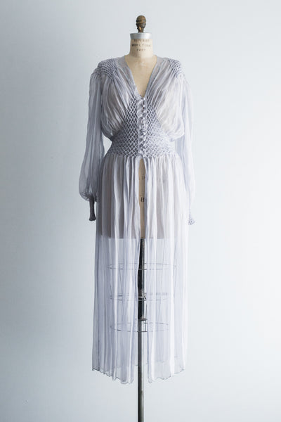 1940s Silk Chiffon Dressing Gown - M