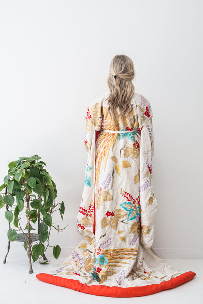 Vintage Embroidered Wedding Kimono - One Size