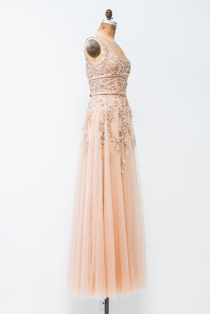 RENTAL Peach Beaded Tulle Gown - S