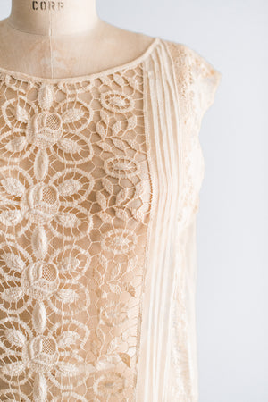 1920s Silk Mixed Lace Flapper Dress  - M/L