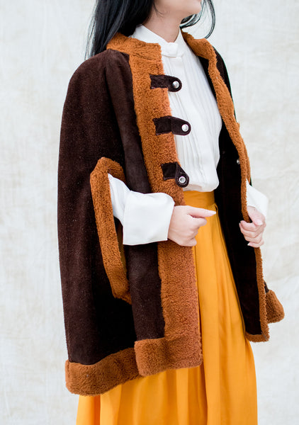 1970s Suede and Faux Fur Cape - One Size