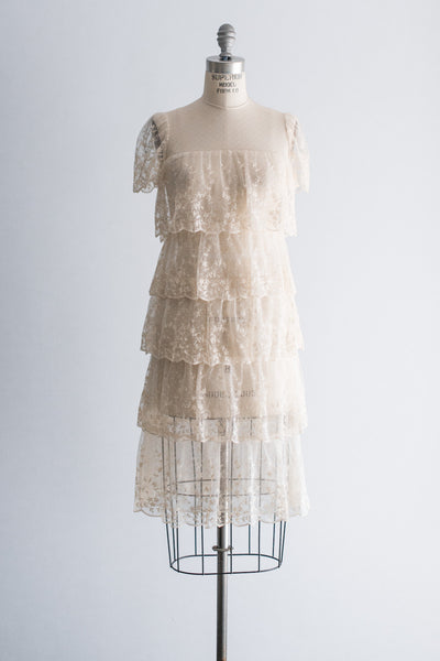 1980s Tiered Needle Lace Dress - M