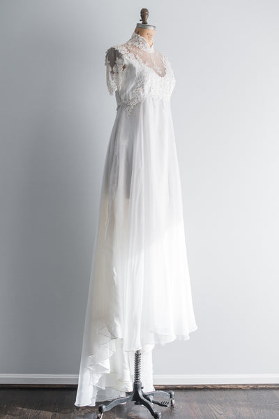 1960s White Chiffon and Lace Applique Gown - L