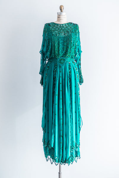1980s Chiffon Emerald/Turquoise Gown - M