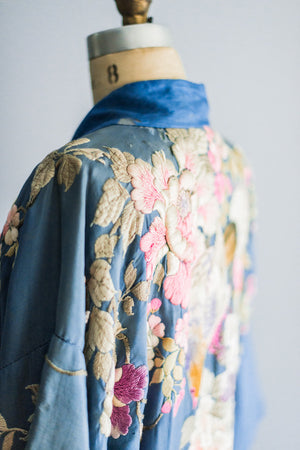 [SOLD] Antique Blue Silk Kimono Robe with Colorful Embroidery