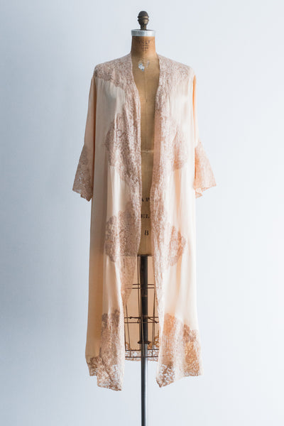 1920s French Peach Dressing Robe with Ecru Alecon Lace - One Size