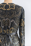 1980's Silk Beaded Baroque Scroll Dress - M/L