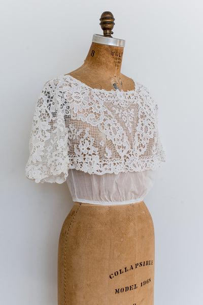 Edwardian Lace and Muslin Top - XS/S