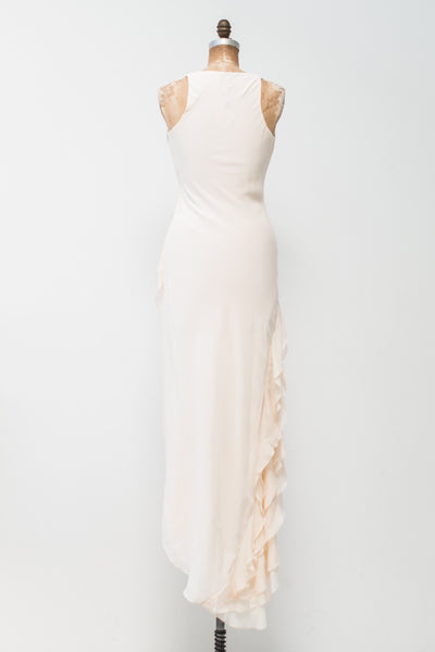 RENTAL Silk Chiffon Hi-Low Evening Dress - S