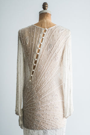 1980s Silk Chiffon Beaded Gown - M