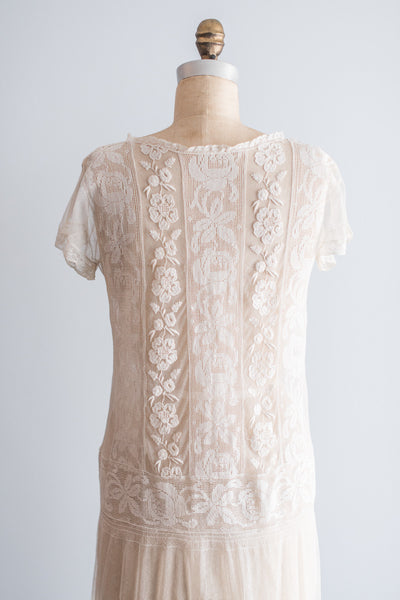 1920s Embroidered Lace Flapper Dress  - M