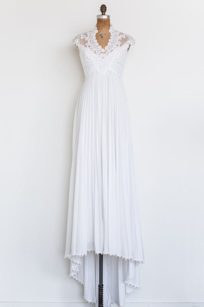 1970s Jersey Embellished Lace Gown - S