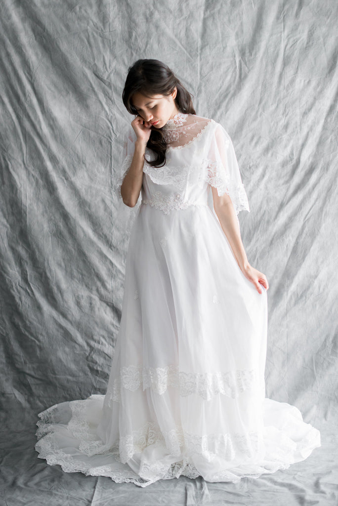 1980s Nylon Chiffon Wedding Gown - M | G O S S A M E R