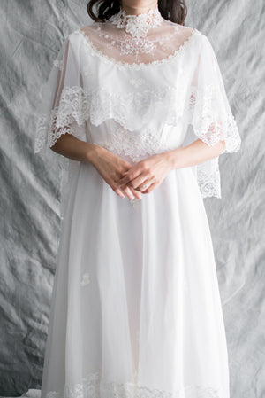 1980s Nylon Chiffon Wedding Gown - M