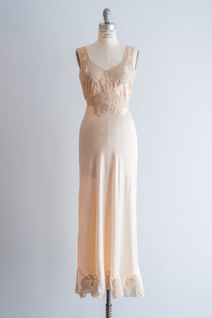 1930s Cream Silk Lace Slip Dress - S