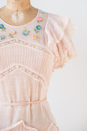 1930s Cotton Embroidered Dress - XS