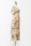 1970 Floral Print Flutter Sleeves Tiered Maxi Dress - S/M