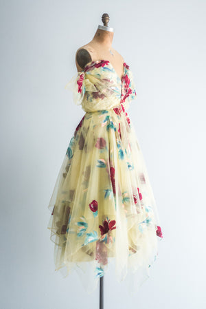 1950s Yellow Hand-Painted Dress - XS