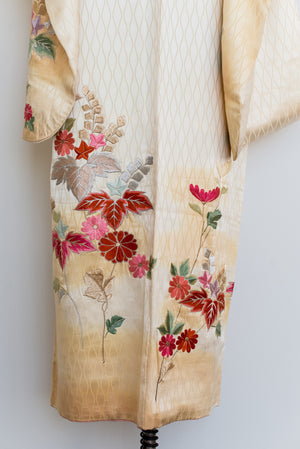Vintage Ivory/Gold Silk Floral Silk Embroidered Kimono - One Size