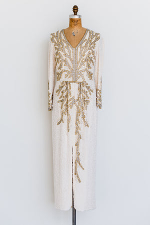 1980s Silk Beaded Gown - M/L