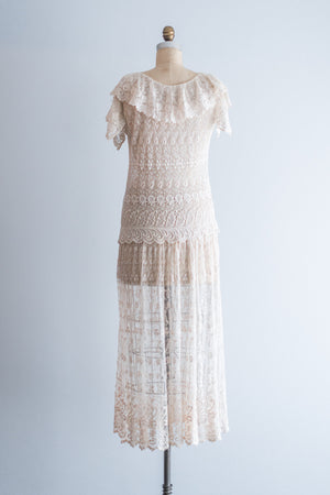1920s Light Pink Needle Lace Dropped Waist Dress - M