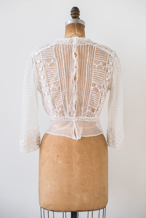 Antique Embroidered Lace Top - S