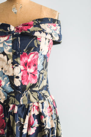 1980s Floral Off-The-Shoulder Dress - S/M