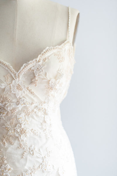[SOLD] Trained Beaded Gown with Lace Applique - S/M