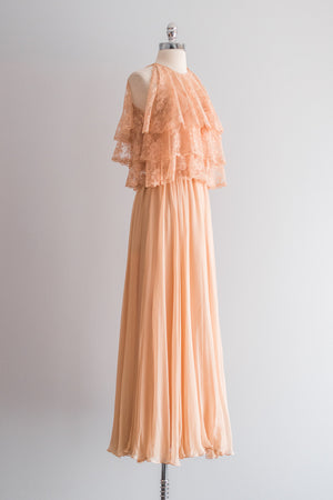 1960s Peach Halter Lace and Silk Gown - XS/S