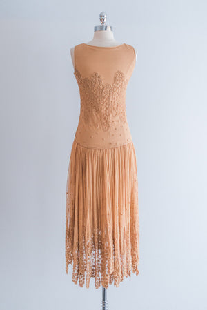 1920s Tea Lace Tulle Flapper Dress - XS/S