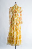 1970s Yellow Floral Chiffon Dress - XS/S