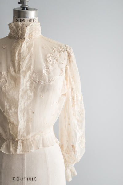 Ecru Edwardian Tambour Lace Top - S/M