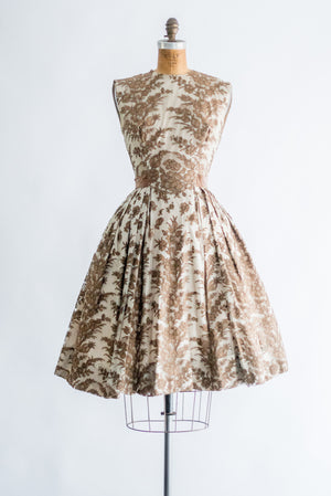 1950s Chocolate Silk Chantilly Lace Dress - XS/S