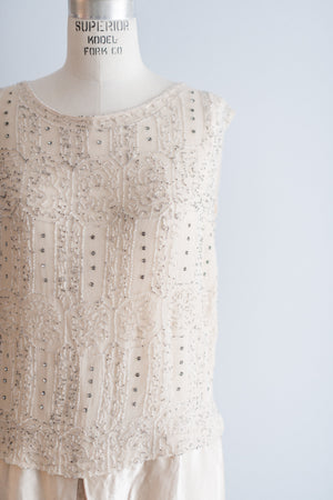 1920s Silk Chiffon Beaded Dress - S/M