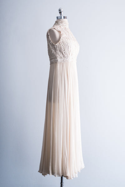 1960s Bergdorf Goodman Silk Dress with Beaded Bodice - XS