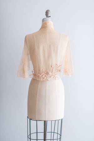 1930s Peach Tulle Embroidered Capelet - One Size