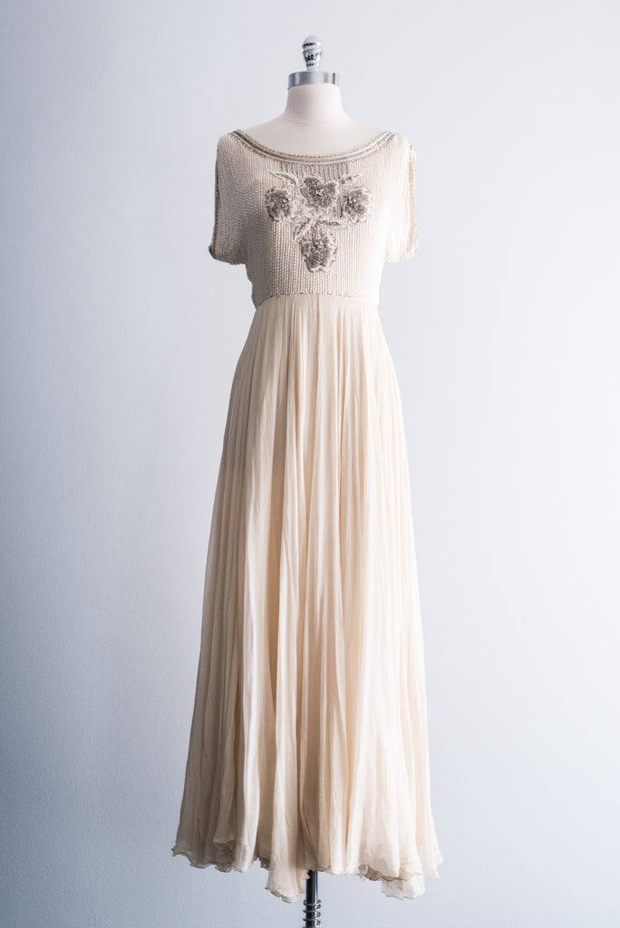 RESERVED 1960s Helen Rose Silk Beaded Gown - S ...